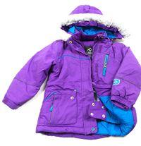 e6a86ae7858 Fialová šusťáková zimní lyžařská bunda s odepínací kapucí jupa