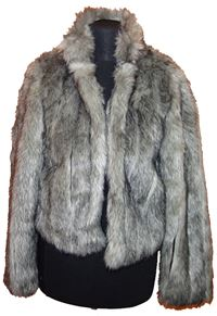 Dámský šedý chlupatý kabátek New look 80d8a88caf