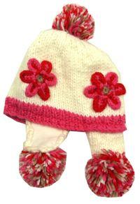 Bílo-růžová pletená čepice s kytičkami a bambulkami Next fc7939060d