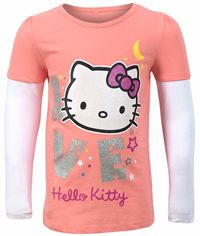Outlet - Korálovo-bílé triko s Hello Kitty zn. Sanrio+George