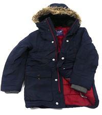 Tmavomodrý šusťákový zimní kabát Next 112ad42ce0d