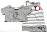 Outlet - 2set - Pruhovaná tunika s Kitty+šedé bolerko zn. Sanrio