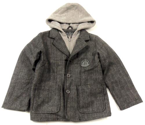 Černo-šedé vzorované vlněné sako s kapucí Matalan 7db4bfe9bd