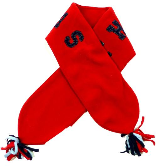 40e8ab67883 Červená fleecová šála s nápisem a třásněmi