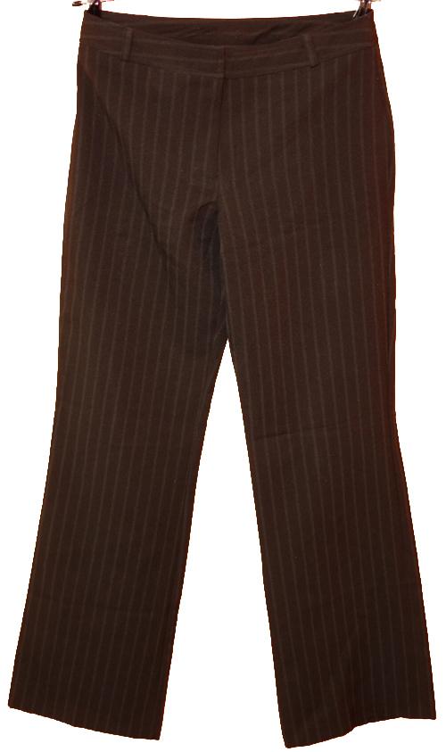 28b357d7a5b Dámské hnědé proužkované společenské kalhoty New look
