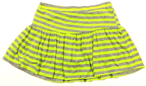 a615e52d38f6 Šedo-křiklavě zelená pruhovaná sukně s kraťasy Tammy