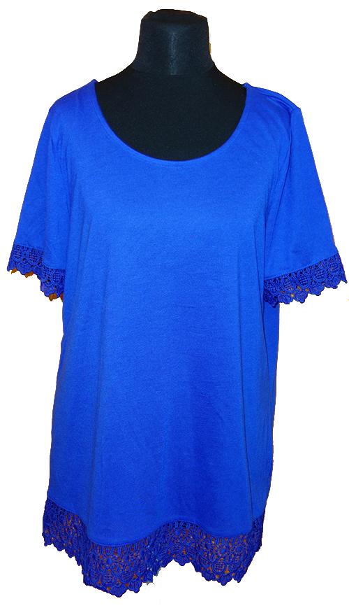 Dámské modré tričko s krajkou Bonmarché f8a04a1997a