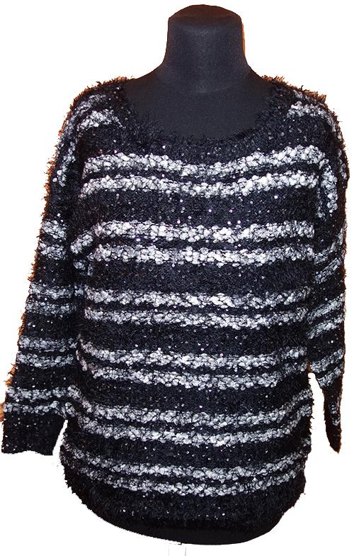 611df454c40 Dámský černo-šedý pruhovaný chlupatý svetr New look