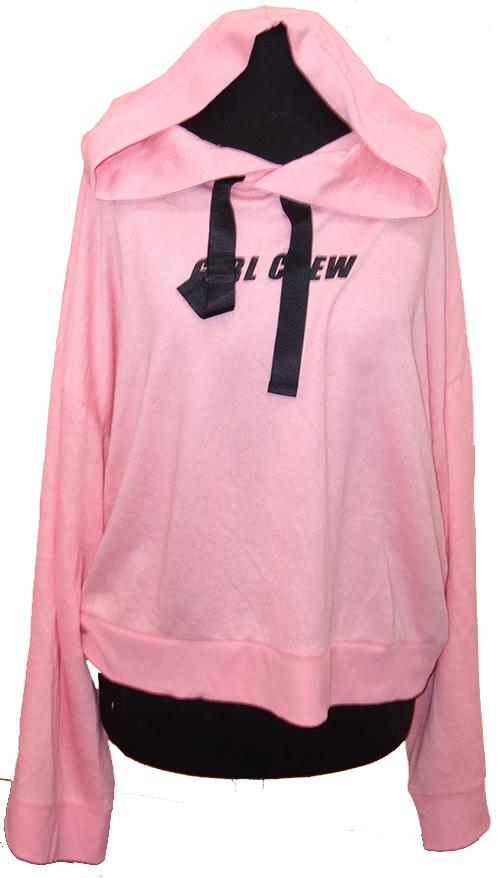 Dámská růžová mikina s nápisem a kapucí  37b5a7d6fb