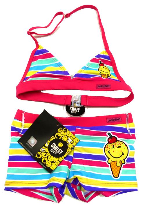 Nové - Barevně pruhované dvoudílné plavky s obrázkem Smiley World 60f53cd90f