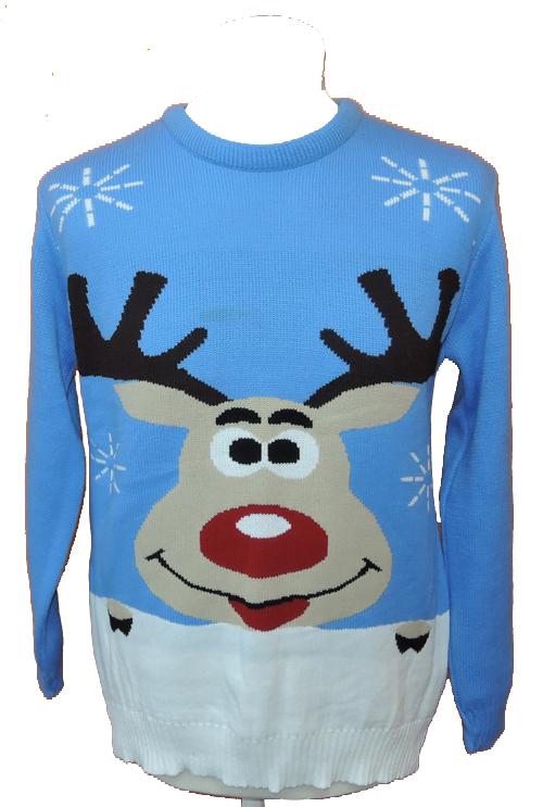 Pánský modrý vánoční svetr se sobem vel. S M 3fd67df231