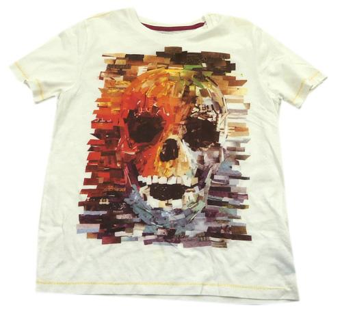 Bílé tričko s lebkou M S  06fe9b90b0