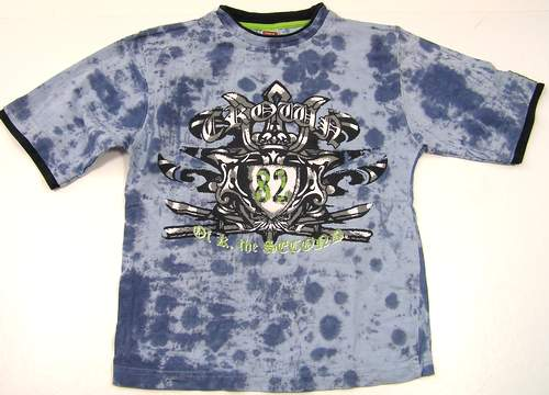 Modré batikované tričko s potiskem C A vel.134 140 49cd28fb60