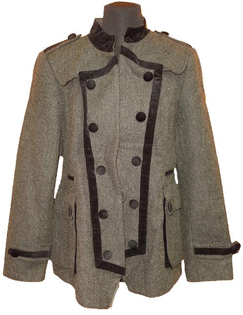 Dámský khaki-šedý tvídový kabát M S  5e7fefc44f3