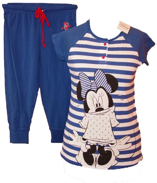 Nové - Dámské tmavomodro-pruhované pyžamo s Minnie Disney vel. S 6b2b6c96fdf