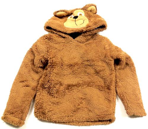 Hnědá chlupatá mikina s kapucí-medvěd George 30554f3c1c