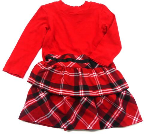 e1e715eb454 Červeno-černé kostkovano kárované šaty s mašličkou a volánkem George