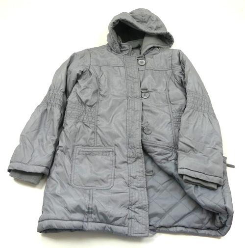 651723451d Šedý šusťákový zimní kabát s kapucí M S