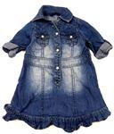 Tmavomodré šaty s kočičkou a volánky  0506791438